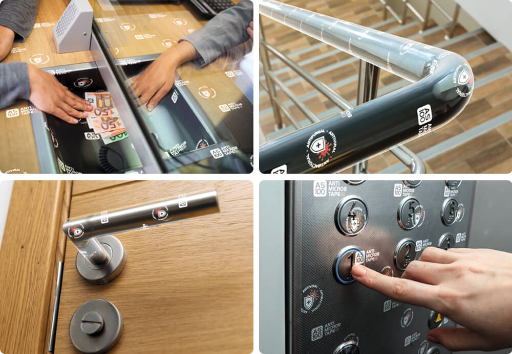 新型コロナウイルス対策 感染防止テープの使用例